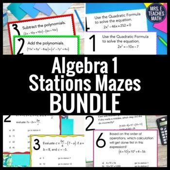 Algebra 1 Stations Maze Activity Bundle