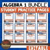 Algebra 1 Student Practice Pages Bundle