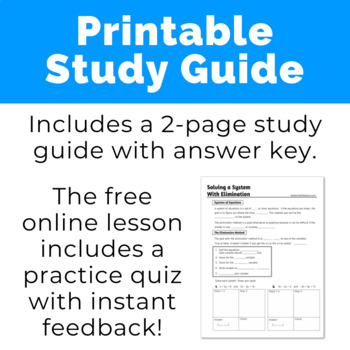 Solving a System with Elimination Study Guide