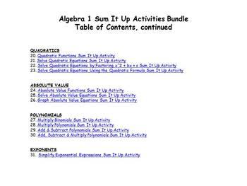 Algebra 1 Sum It Up Activities Bundle