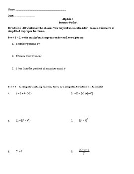 Algebra 1 Summer Packet (with answer key!)