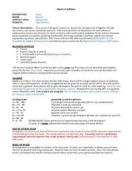 Algebra 1 - Syllabus