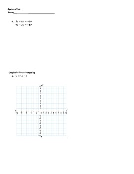Algebra 1 Systems Test