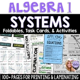 Algebra 1 - Systems of Equations & Inequalities Foldable and Task Card Bundle