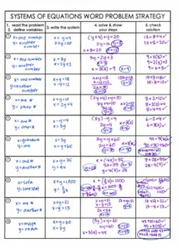 Algebra 1 Systems of Equations word problem notes & task cards