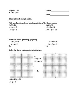 Algebra 1: Systems of Linear Equations Quiz