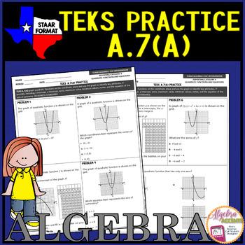 Algebra 1 TEKS A.7A Quadratic Attributes
