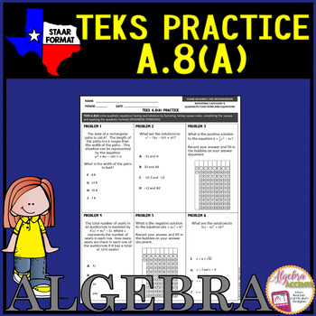Algebra 1 TEKS A.8A Solving Quadratic Equations