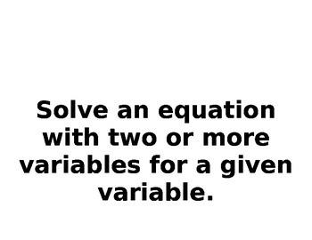 Algebra 1 TEKS Objectives