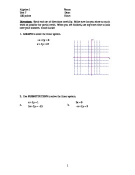 Algebra 1 TEST Chapter 7