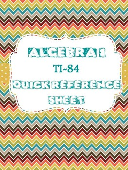 Algebra 1 TI-84 Quick Reference Sheet