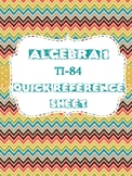 Algebra 1 TI-84 Quick Reference Sheet