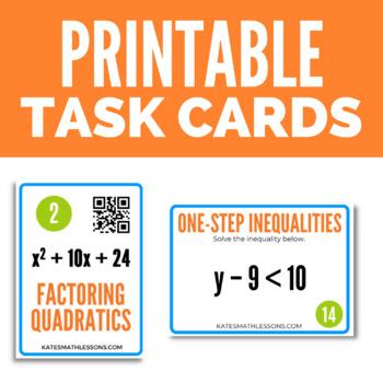 Algebra 1 Task Cards Bundle