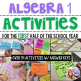Algebra 1 - Task Cards, Puzzles, & Games for the First Half of the Year BUNDLE