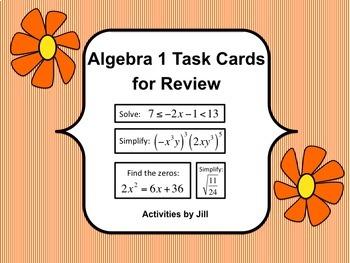 Algebra 1 Task Cards for Review