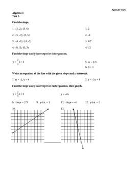 Algebra 1 Test 5 Slope and Linear Equations