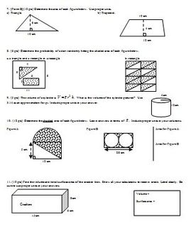 Algebra 1 Test Data Probability and Geometry Spring 2010 two versions 2 pages ea
