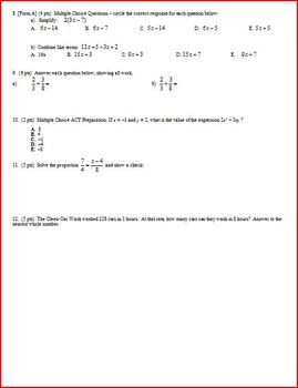 Algebra 1 Test: Equations and Expressions - 3 versions - 3 pages each (Editable)
