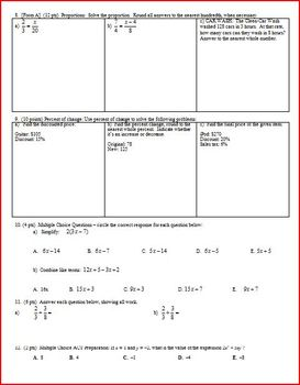 Algebra 1 Test: Equations and Expressions Fall 2010; 2 versions; 3 pages each
