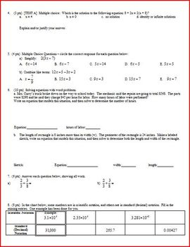 Algebra 1 Test: Equations and Matrices - 4 versions - 2 pages each