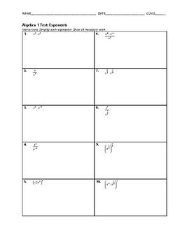 Algebra 1 Test - Exponents FREE BUNDLE