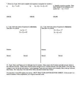 Algebra 1 Test: Exponents, Factoring, Multiplying Binomials; 3 versions