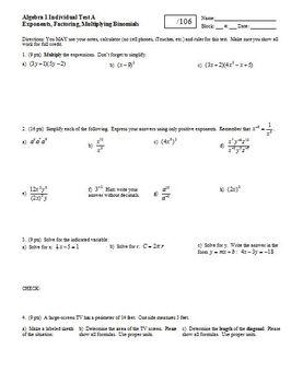 Algebra 1 Test: Exponents, Factoring, Multiplying Binomial