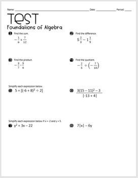 Algebra 1 Test (Foundations of Algebra)