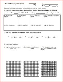 Algebra 1 Test: Inequalities  - 2 versions - 2 pages each (Editable)