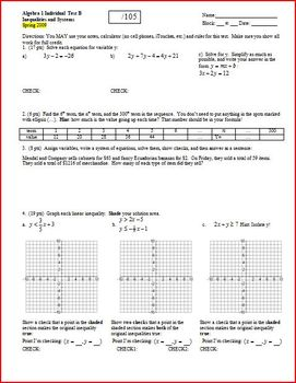 Algebra 1 Test: Inequalities and Systems Spring 2009 - 2 versions - 3 pages each