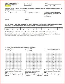 Algebra 1 Test: Inequalities and Systems Spring 2009 - 2 v