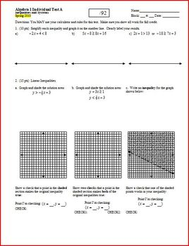 Algebra 1 Test: Inequalities and Systems Spring 2010 - 2 versions - 3 pages each