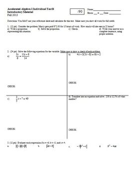 Algebra 1 Individual Test Introductory Material Fall 2013 2 versions; 2 pages ea