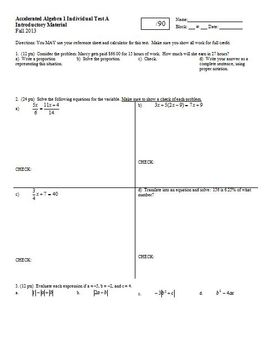 Algebra 1 Individual Test Introductory Material Fall 2013