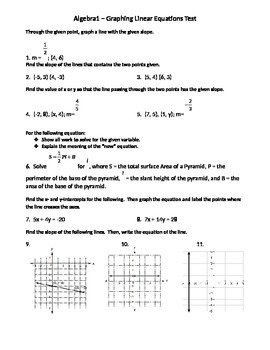 Algebra 1 Test - Linear Functions