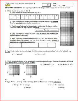 Algebra 1 Test: Linear Functions and Inequalities; 2 versions; 3 pages each