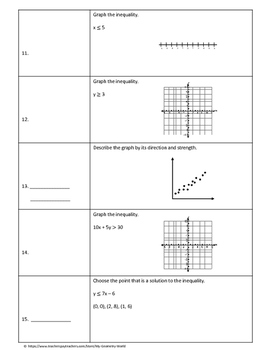 Algebra 1 Test: Linear Inequalities & Regression