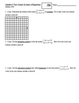 Algebra 1 Test: Linear Systems of Equations Summer 2002 (Editable)
