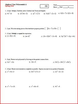 Algebra 1 Test: Polynomials; 2 versions; 2 pages each