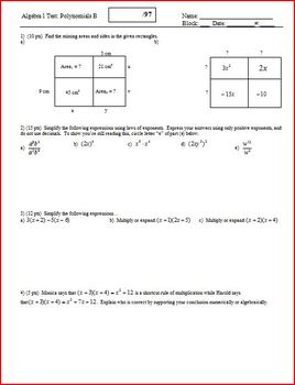 Algebra 1 Test: Polynomials; 3 versions; 2 pages each (Editable)