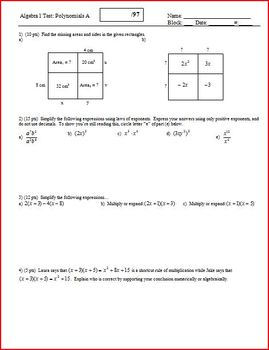 Algebra 1 Test: Polynomials; 3 versions; 2 pages each