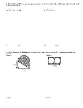 Algebra 1 Test: Polynomials Quadratics Factoring Spring 2010;2 versions-Editable