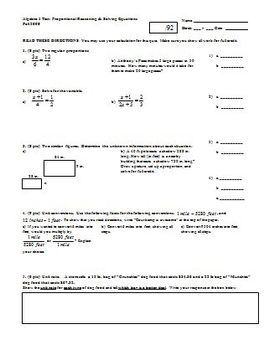 Algebra 1 Test Proportional Reasoning and Solving Equations Fall 2008 (Editable)