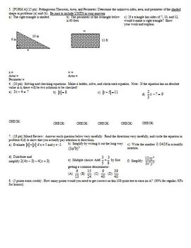 Algebra 1 Test Proportions Percents Areas Fall 2008; two versions; 2 pages each