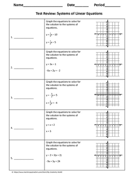 Algebra 1 Test Review: Systems of Linear Equations