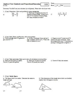 Algebra 1 Test Similarity and Proportional Reasoning Fall 2008 (Editable)