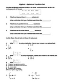 Algebra 1 Test - Systems of Equations