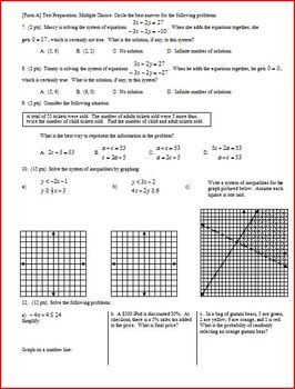 Algebra 1 Test: Systems of Linear Equations and Inequalities Spr'12 - 2 versions