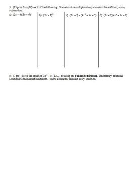 Algebra 1 Test Transformations and Radicals Spring 2013; 2 versions (Editable)