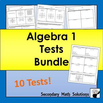 Algebra 1 Tests Bundle